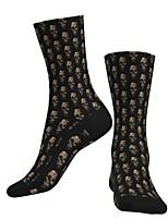 cheap -Crew Socks Compression Socks Calf Socks Athletic Sports Socks Cycling Socks Men's Women's Bike / Cycling Lightweight Breathable Anatomic Design 1 Pair Graphic Skull Cotton Black S M L / Stretchy