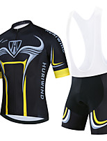 cheap -Men's Short Sleeve Cycling Jersey Cycling Jersey with Bib Shorts Cycling Jersey with Shorts Black / Yellow Black Black / White Bike Breathable Quick Dry Sports Graphic Mountain Bike MTB Road Bike