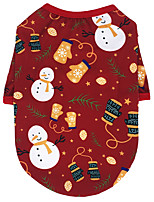 cheap -Dog Cat Shirt / T-Shirt Hoodie Snowman Christmas Bell Adorable Cute Casual / Daily Dog Clothes Puppy Clothes Dog Outfits Breathable White Black Red Costume for Girl and Boy Dog Cotton XS S M L