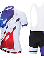 cheap -Men's Short Sleeve Cycling Jersey with Shorts White Black / White Bike Breathable Moisture Wicking Sports Geometic Clothing Apparel / Micro-elastic / Athleisure