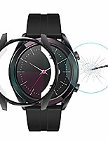 cheap -tpu case for huawei watch gt elegant 42mm hat-prince 2 in 1 full coverage electroplate tpu case + 0.2mm 9h 2.15d curved edge tempered glass film(black). (color : black)