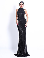 cheap -Mermaid / Trumpet Elegant Minimalist Prom Formal Evening Dress High Neck Sleeveless Sweep / Brush Train Spandex Sequined with Criss Cross Sequin 2020