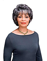 cheap -goldie wig color fs1b/30 - foxy silver wigs short straight shag synthetic full fringe african american womens machine wefted lightweight average cap bundle with maxwigs hairloss booklet