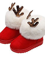 cheap -Boys' Girls' Boots Snow Boots Christmas Suede Little Kids(4-7ys) Big Kids(7years +) Daily Walking Shoes Black Red Pink Winter / Mid-Calf Boots