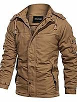 cheap -men's down jacket autumn winter velvet washable outwear pure color breathable plus size jacket coat khaki
