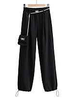 cheap -Women's Sporty Basic Comfort Daily Going out Jogger Sweatpants Pants Solid Colored Letter Ankle-Length Pocket Black Gray