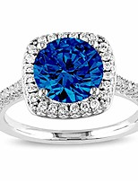 cheap -pori jewelers sterling silver cushion cut halo solitaire engagement ring- 2.45 cz (white & blue, 9)