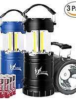 cheap -collapsible led camping lantern combo with flash light, ultra bright 300 lumens cob lighting source great for hurricanes, emergency, hiking, portable battery powered camping lights (grey+blue+black)