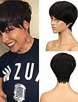 cheap -human hair wigs for women short pixie wigs brazilian virgin hair 9 inches 63g (1b: black)