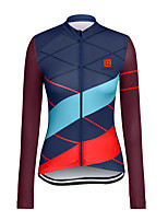 cheap -21Grams Women's Long Sleeve Cycling Jersey Winter Polyester Royal Blue Stripes Bike Jersey Top Mountain Bike MTB Road Bike Cycling Quick Dry Back Pocket Sports Clothing Apparel / Stretchy