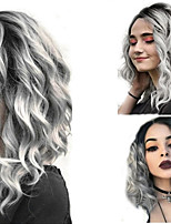 cheap -Synthetic Wig Hathaway Middle Part Wig Blonde Short Curly Black Gray Gradient Mid-length  Synthetic Hair 12 inch Women Synthetic Sexy Lady Hairstyle