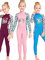 cheap -Girls' Rash Guard Dive Skin Suit Diving Suit Breathable Quick Dry Long Sleeve Back Zip - Swimming Surfing Water Sports Patchwork Summer / Stretchy / Kid's