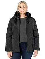 cheap -women's plus size quilted puffer coat with cozy pile collar, forest, 1x