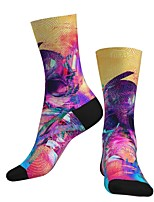 cheap -Socks Cycling Socks Men's Women's Bike / Cycling Breathable Soft Comfortable 1 Pair Skull Cotton Purple S M L / Stretchy