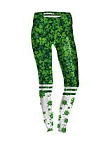 cheap -Women's Sporty Comfort Gym Yoga Leggings Pants Patterned Full Length Green