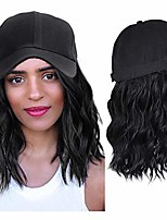 cheap -14 inch baseball cap wigs for women short wavy bob wigs baseball hat with hair attached for halloween cosplay costume or daily party use