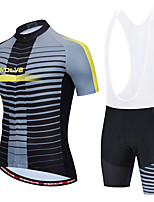 cheap -Men's Long Sleeve Cycling Jersey with Bib Shorts White Black / White Bike Moisture Wicking Sports Geometic Clothing Apparel / Micro-elastic / Athleisure
