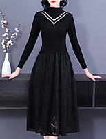 cheap -Women's Shift Dress Midi Dress - Long Sleeve Solid Color Lace Patchwork Fall Work 2020 Black M L XL XXL 3XL 4XL