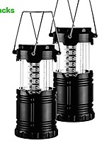 cheap -2 pack collapsible portable led camping lantern flashlights, outdoor tent lamp survival kit emergency, hurricane, outage (black) (color: black)