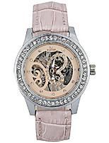 cheap -top brand luxury women's automatic self-wind mechanical skeleton rhinestone butterfly leather watch (pink silver)