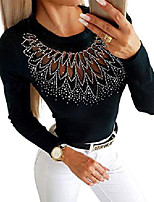 cheap -womens tops sexy round neck tunic studded mesh casual t shirts long sleeve shirts for women black tees slim fit