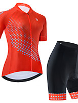 cheap -Women's Short Sleeve Cycling Jersey Cycling Jersey with Bib Shorts Cycling Jersey with Shorts Black Red Black / White Polka Dot Bike Breathable Quick Dry Sports Polka Dot Mountain Bike MTB Road Bike