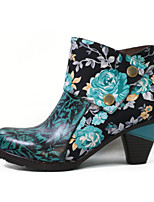 cheap -Women's Boots Chunky Heel Round Toe Classic Daily Leather Floral Blue