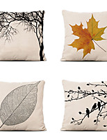 cheap -Cushion Cover 4PCS Linen Soft Decorative Square Throw Pillow Cover Cushion Case Pillowcase for Sofa Bedroom 45 x 45 cm (18 x 18 Inch) Superior Quality Machine Washable Tree Leaves Pattern