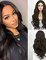 cheap -long black wig for women natural wave wig long wavy synthetic wigs with middle parting 22 inches