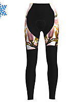 cheap -21Grams Women's Cycling Tights Cycling Pants Winter Fleece Polyester Bike Tights Padded Shorts / Chamois Pants Thermal Warm Fleece Lining Breathable Sports Floral Botanical Black Mountain Bike MTB