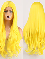 cheap -Cosplay Costume Wig Synthetic Wig Wavy Middle Part Wig Long Yellow Synthetic Hair Women's Odor Free Fashionable Design Soft Yellow / Heat Resistant