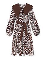 cheap -Women's A-Line Dress Knee Length Dress - Long Sleeve Print Lace up Print Summer Shirt Collar Vintage 2020 Black Brown One-Size