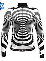 cheap -21Grams Men's Long Sleeve Cycling Jersey Winter Fleece Polyester Black Stripes Bike Jersey Top Mountain Bike MTB Road Bike Cycling Fleece Lining Warm Quick Dry Sports Clothing Apparel / Stretchy
