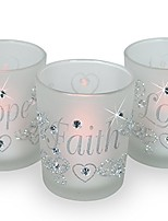 cheap -decorative glass votive holders - faith hope love frosted glass candle holders - silver glitter hearts & crystals - set of 3 assorted - three flameless flickering led candles included