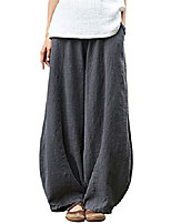 cheap -women's casual cotton linen baggy pants with elastic waist relax fit lantern trousers gray xl xin