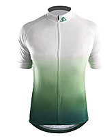 cheap -21Grams Men's Short Sleeve Cycling Jersey Polyester Red / White Blue+Green White Gradient Bike Jersey Top Mountain Bike MTB Road Bike Cycling Breathable Quick Dry Reflective Strips Sports Clothing