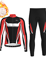 cheap -21Grams Men's Long Sleeve Cycling Jersey with Tights Winter Fleece Polyester Black / Yellow Red Blue Bike Clothing Suit Thermal Warm Fleece Lining Breathable 3D Pad Warm Sports Graphic Mountain Bike