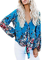 cheap -womens floral v neck tops tie knot front shirts long sleeve chiffon boho blouses yellow
