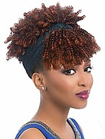 cheap -xiufaxirusi short ombre brown kinky curly wigs with bangs blue shinning headband wig 2 in 1 natural looking synthetic hair wig thanksgiving wigs with turban for black women(4#/30#)
