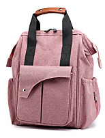 cheap -Women's Nylon Diaper Bag Commuter Backpack Large Capacity Waterproof Zipper Solid Color Daily Outdoor Black Blushing Pink Dark Blue Gray