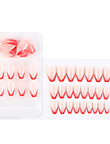cheap -1 Pack Pink And Red Fake Nail Stickers Wearable Nails Finished Nails Removable Nail Stickers European And American French Ballet Nails