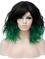 cheap -max beauty ca-creation 35cm/14'' ombre short curly bob wig with bangs daily wig for halloween and party + free cap (tilted bangs, ombre black & green)