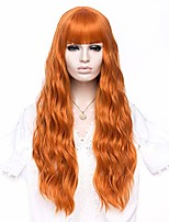 cheap -women's orange wigs with bangs 27'' fluffy long curly wavy lolita wigs for girl halloween cosplay party wigs with cap