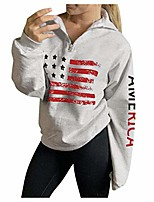 cheap -pullover for women, womens autumn flag printed long sleeve patchwork velvet sweatshirt tops blouse e-scenery