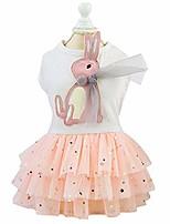 cheap -pet dress, cute rabbit decor dog tutu princess dress wedding skirt small dog girl clothes soft cotton apparel costume for puppy small dogs (l-white)