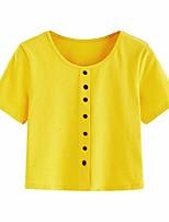 cheap -women's short sleeve color block loose crop tee shirt tops burgundy m