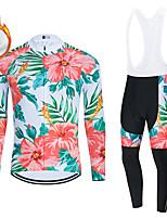 cheap -WECYCLE Men's Women's Long Sleeve Cycling Jersey with Bib Tights Cycling Jersey with Tights Winter Fleece Polyester Green Black / White Black / Green Floral Botanical Bike Clothing Suit Fleece Lining