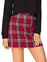 cheap -women's plaid high waist bodycon mini skirt red m