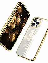 cheap -compatible for iphone 12 pro max (2020), clear transparent shockproof shell protective bumper cover with electroplated edge anti-yellow cases - gold