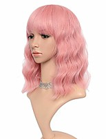 "cheap -long wavy wig loose weave pink bob wig with air bang fluffy curly wavy hair wigs for girl synthetic cosplay party wigs for women (14"", pure pink)"